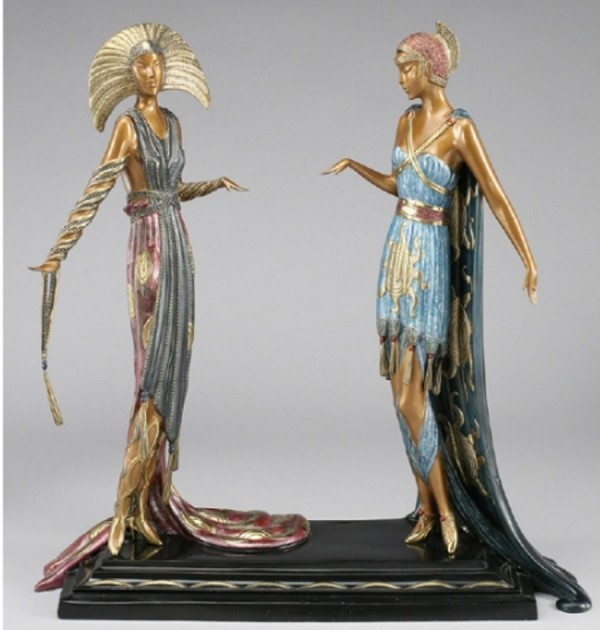 """Two Vamps"" Bronze Sculpture by Erte"