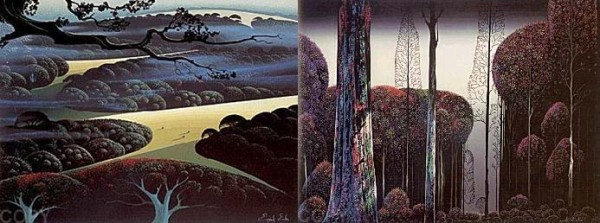 """Blue Fog"" & Gothic Forest"" Serigraphs by Eyvind Earle"