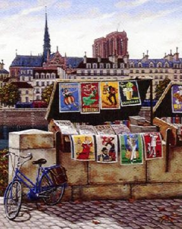 """""""Pont Neuf - Postcards from Paris suite"""" Framed & Signed Serigraph on Canvas"""