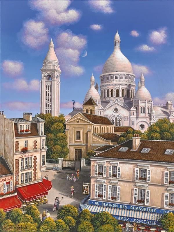 """Place du Tetre"" hand-signed archival print on canvas by Liudmila Kondakova"
