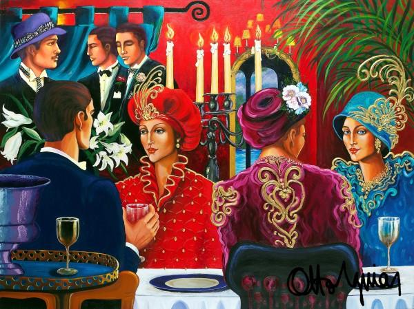"""Fedora Cafe"" Original Acrylic on Canvas by Otto Aguiar"