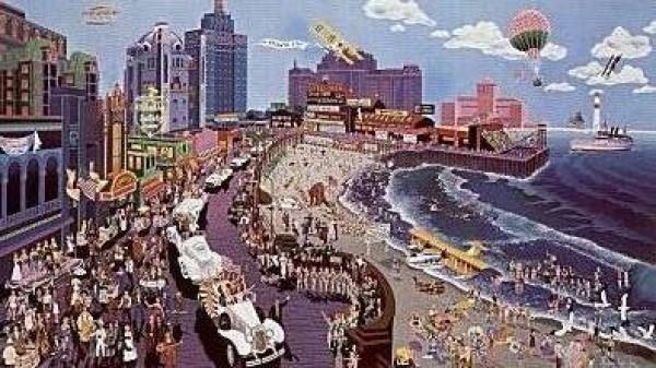 """Boardwalk Of Atlantic City"" Serigraph by Melanie Taylor Kent"
