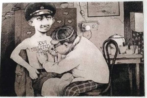 """F**k Communism"" Etching by Charles Ray Bragg"
