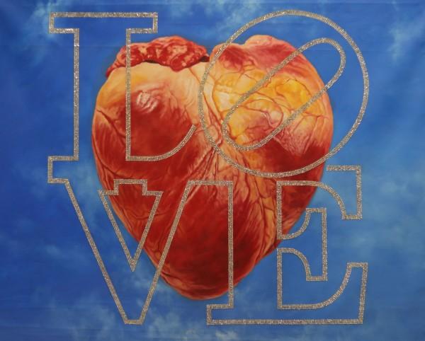 """Love"" Original Oil & Svarowski Crystal painting on Canvas by Tomasz Rut"