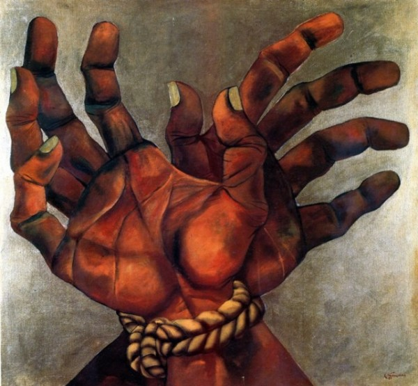 """Untitled"" Hands tied with Rope by Eduardo Kingman"