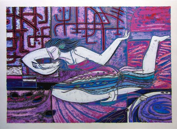 """""""Songbird"""" Serigraph on Paper by Adrian Wong Shue"""