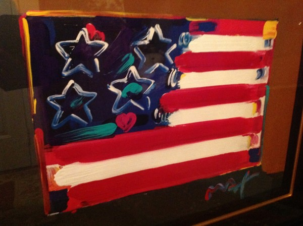 """""""Flag With Heart"""" Series III, Unique Mixed Media Acrylic on Lithograph"""