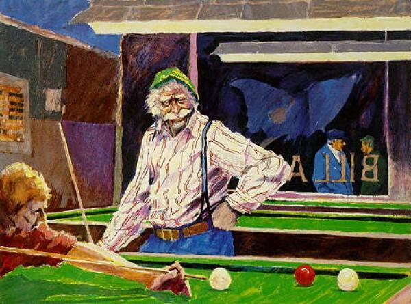 """Billiards at Cafe Palermo"" Serigraph by Aldo Luongo"