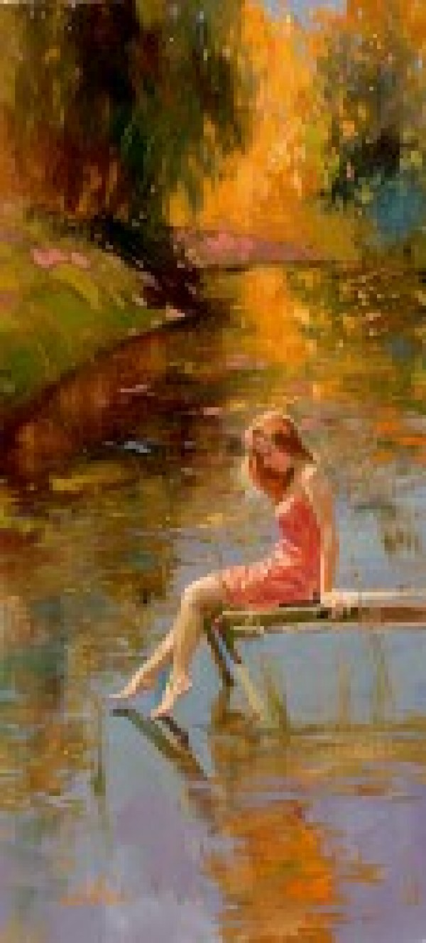 """""""Warm Reflections"""" Hand-Embellished Giclee on Hand-Textured Canvas by Irene Sheri"""