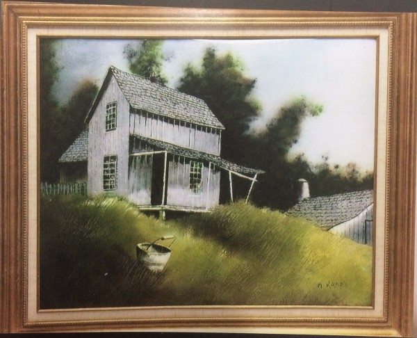 """""""House on the Hill"""" Original Enamel on Copper by Max Karp"""