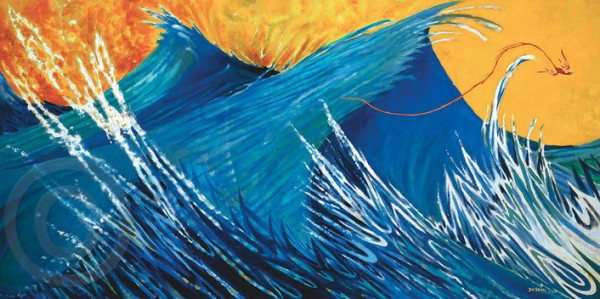 """Firebird"" Mixed Media Pigment Print on Archival Canvas by Dr. Seuss"