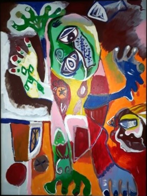 """Grumpy Man"" 1994 Original Acrylic on Canvas by Alexandra Nechita"