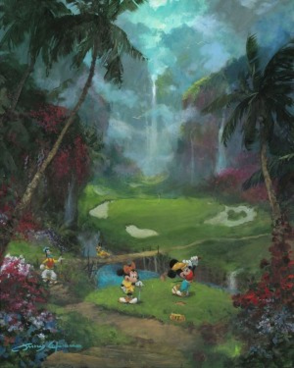 """""""17th Tee In Paradise"""" Hand-Embellished Giclee on Canvas by James Coleman"""