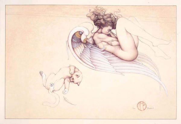 """""""Angel of August"""" Stone LIthograph by Michael Parkes"""