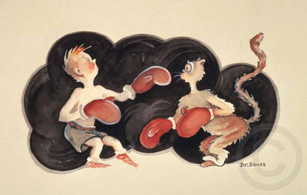"""""""Manly Art of Self Defense"""" Serigraph on Archival Canvas by Dr. Seuss"""
