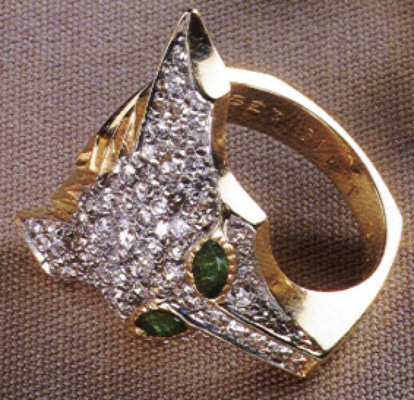 """Foxes Ring, State III"" Fine Art to Wear Ring by Erte"