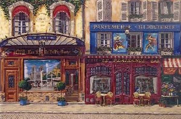 """Les Rives de Notre Dame"" Serigraph on Linen Canvas by Liudmila Kondakova"