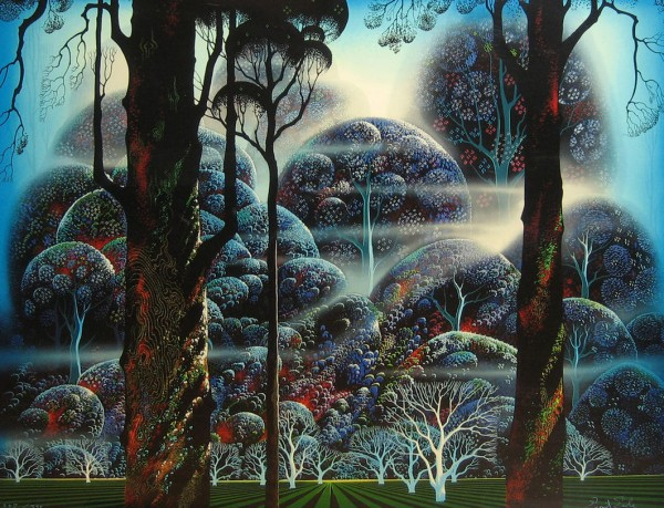 """Mist In The Dark Woods"" Serigraph by Eyvind Earle"
