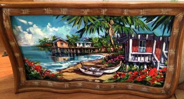 """Beach House With Boats"" original oil on canvas by Steve Barton"