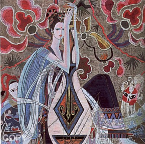 """""""Chinese Opera"""" Serigraph on Paper by Ting Shao Kuang"""