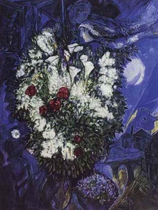 """Bouquet aux Amoureux Volants"" Plate-Signed Lithograph by Marc Chagall"