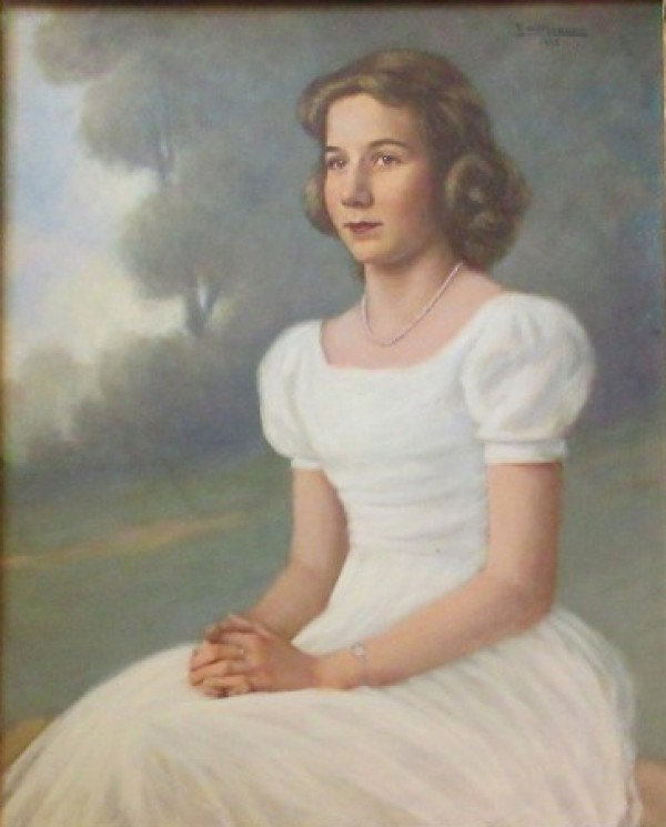 Original Painting of a Young Girl by Emil Hermann