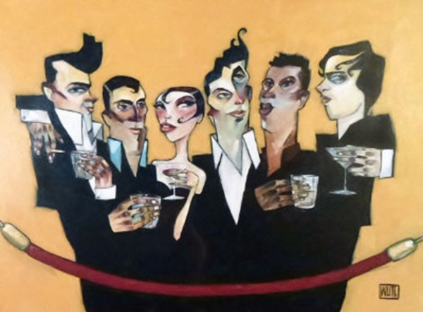 """""""Behind The Velvet Rope"""" Original Oil on Canvas by Todd White"""