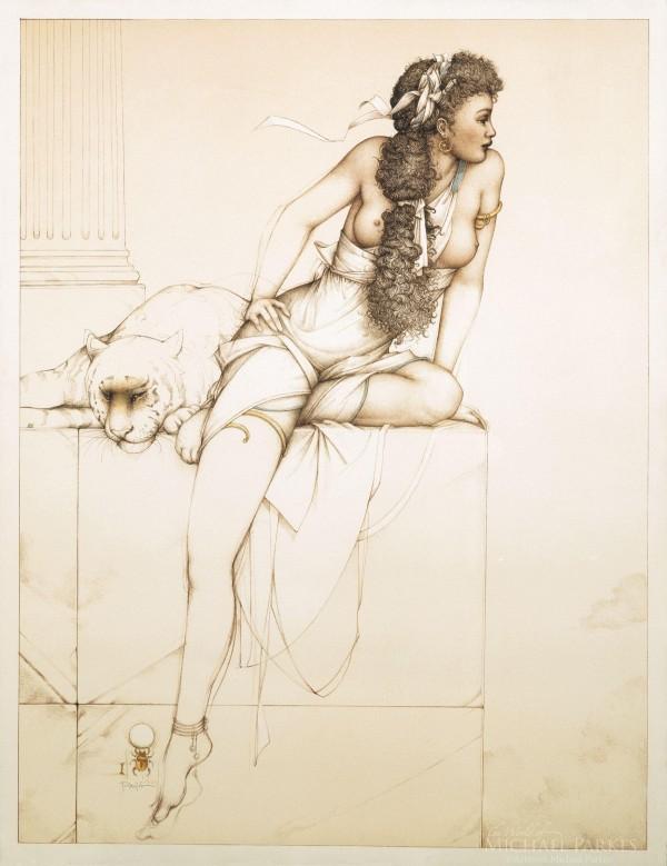 """Danae"" Stone Lithograph by Michael Parkes"