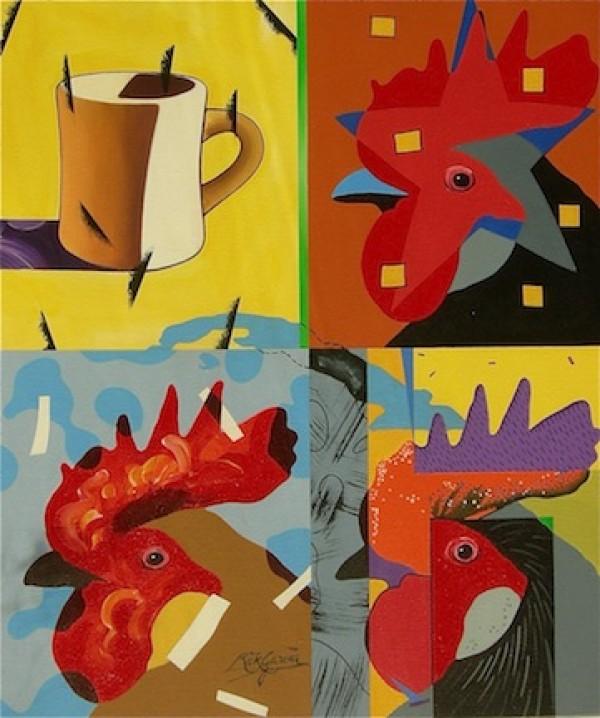 """Coffee Roosters"" Original Acrylic/Canvas by Rick Garcia"