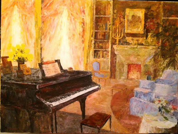 """Interior with Piano"" Original Acrylic painting on canvas by Slobodan Paunovic"