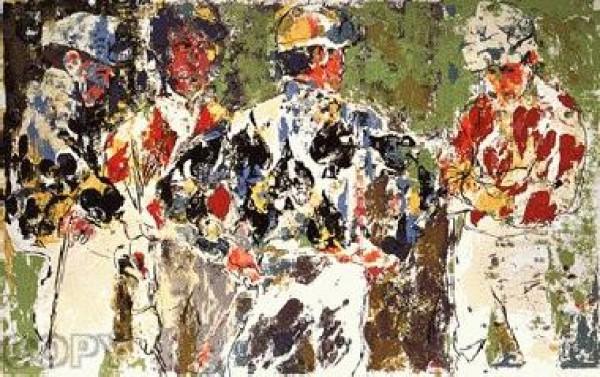 """Four Jockeys"" Serigraph by LeRoy Neiman"