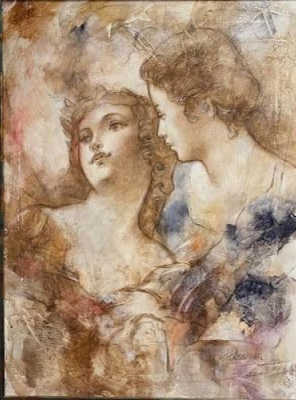 """Les Amoreaux"" Original Mixed Media on Canvas by Francois Fressinier"