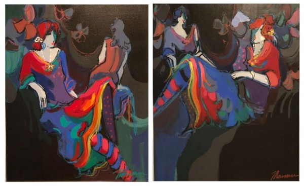 """""""Brigitte & Noelle"""" Suite of Original Acrylics on Canvas by Isaac Maimon"""
