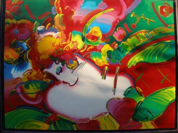 """""""Flower Blossom Lady"""" Original Unique Acrylic/Serigraph by Peter Max"""