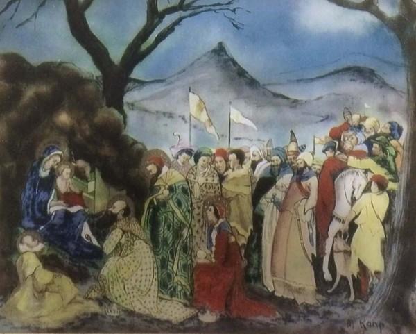 """The Nativity"" Original Enamel on Copper by Max Karp"