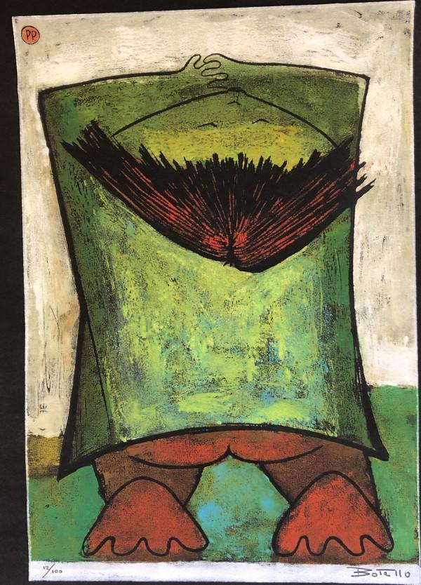 """Child Resting"" Linocut by Angel Botello"