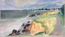 Sea Shore of Brittany Original Watercolor by Alexandre Minguet