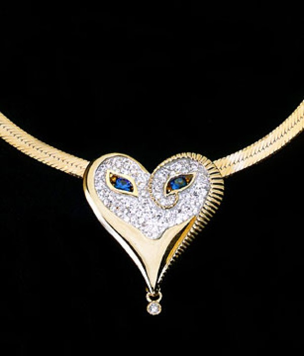 """""""Sapphire Eyes & Diamonds Mask"""" 18K Gold with diamonds and Sapphires Pendant by Erte"""
