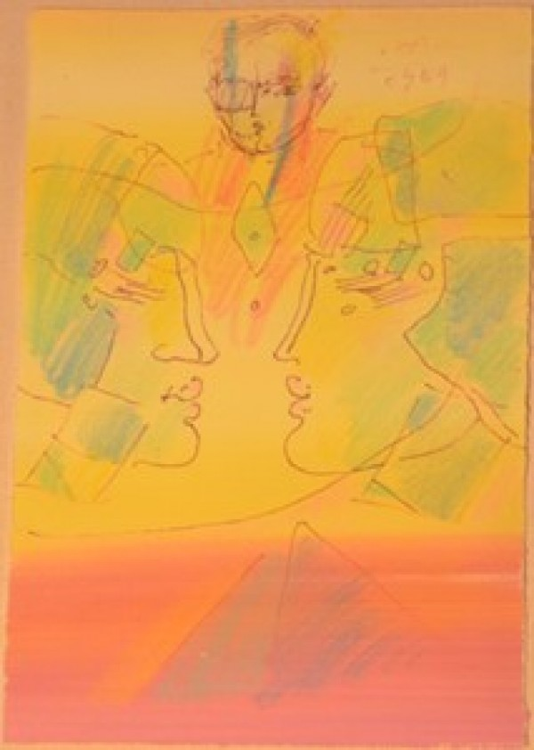 """""""The Pyramid"""" Original Acrylic & Pen on Paper by Peter Max"""