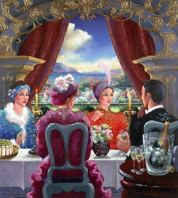 """""""Dining Out"""" Mixed Media Unique on Canvas by Otto Aguiart, estate signed"""