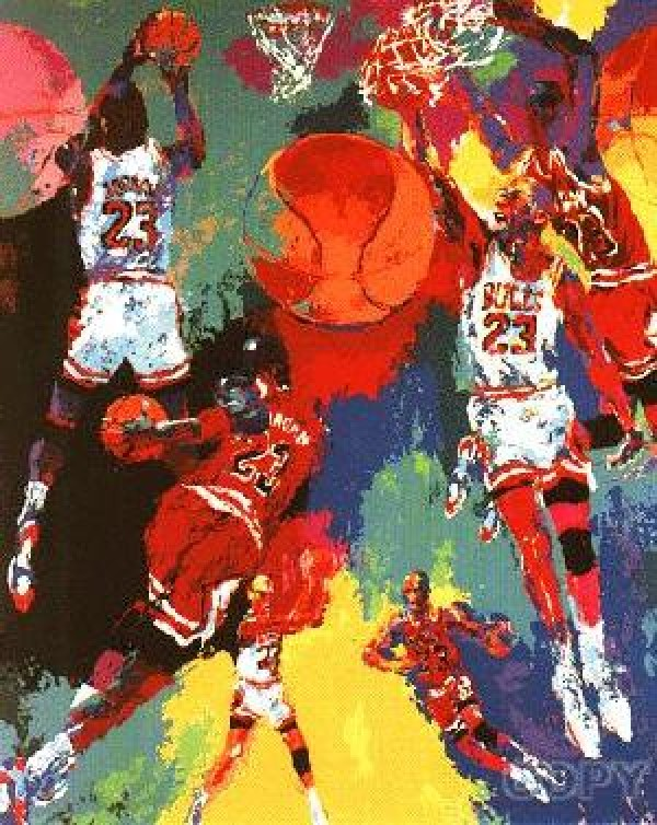 Michael Jordan double signed serigraph by LeRoy Neiman