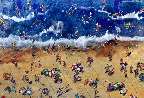 Summer Original Hand-Worked Mixed Media on Aluminum by Michael Bryan