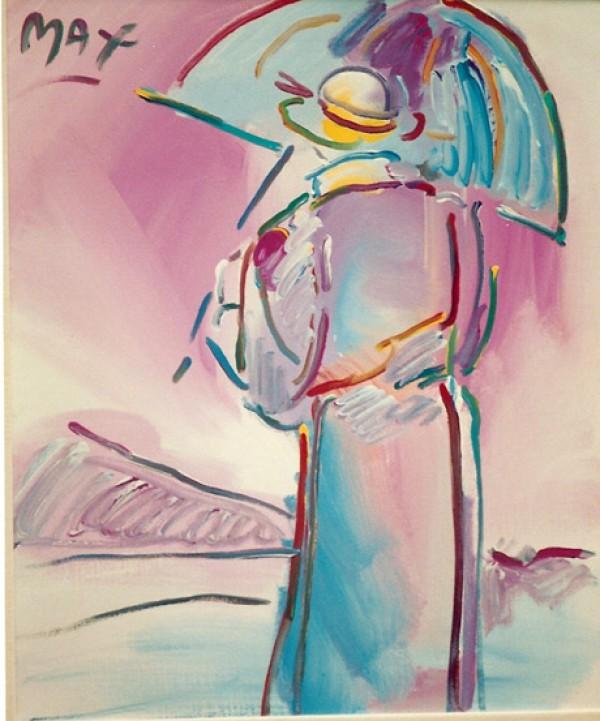 Umbrella Man Original Acrylic on Canvas by Peter Max