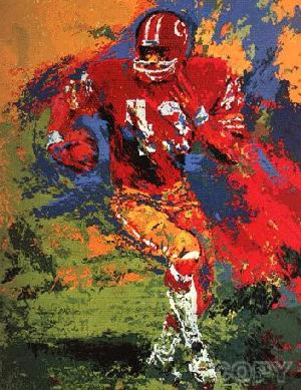 """""""End Around (Larry Brown)"""" Serigraph by LeRoy Neiman"""