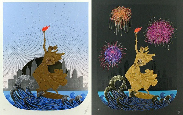 """Statue of Liberty - Day & Night Suite of 2 Embossed Serigraphs with Foil Stamping by Erte"