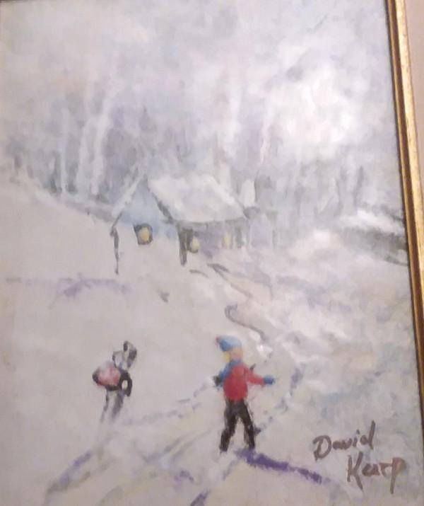 """Boy In Snow"" Original Enamel on Copper by David Karp"