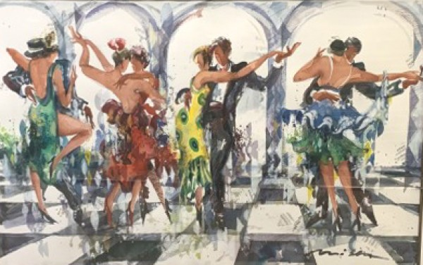 """""""Sicilian Defence"""" Watercolor with Mixed Media by Misha Lenn"""