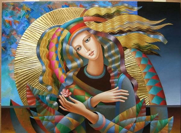 """Memory Flower"" Original Mixed Media on Canvas by Oleg Zhivetin"