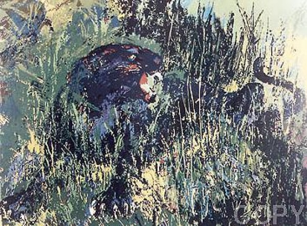 """""""Black Panther"""" Serigraph by LeRoy Neiman"""