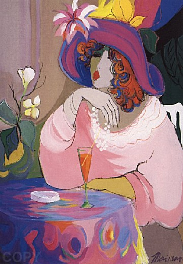 """""""Champagne Girl"""" Serigraph on Paper by Isaac Maimon"""